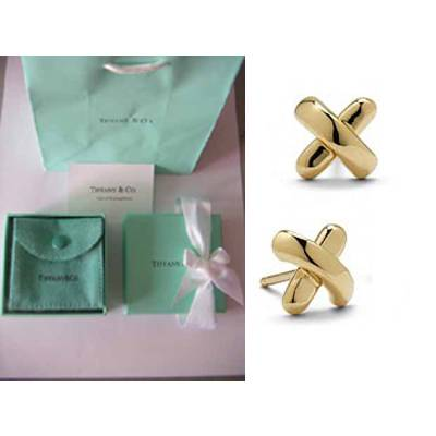 Tiffany Cross Sch Earrings Gold Plated