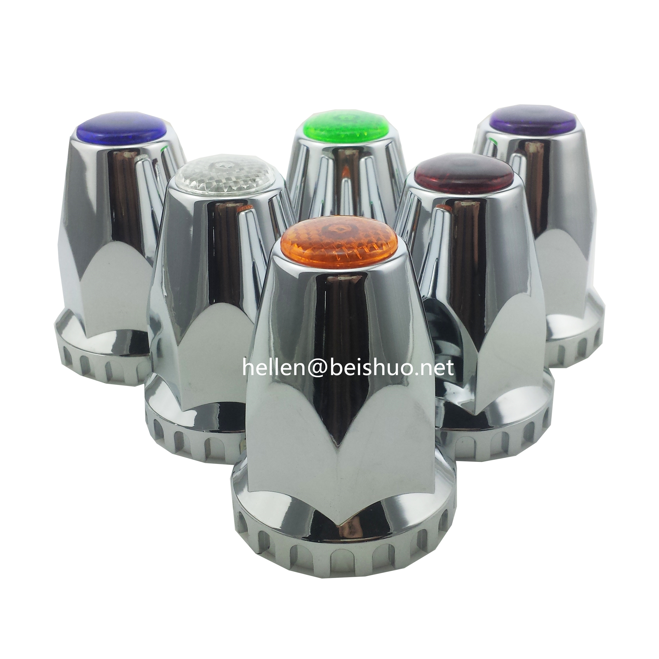 33mm Chrome Plastic Reflective Nut Covers - Thread On