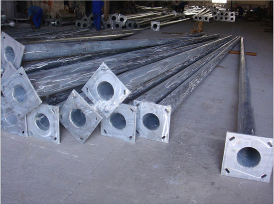 9-12m hot dip galvanized polygon steel pole for power transmission line