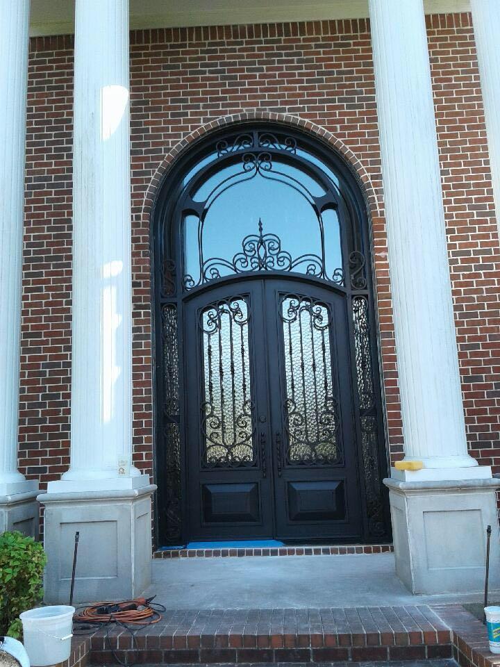 Xiamen Arch Top Wrought Iron Double Entry Door(JDL-1004)