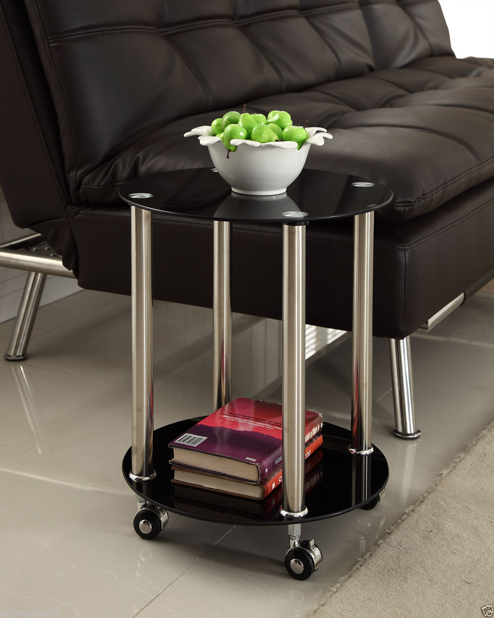 Black Glass 2 Tier Side Coffee End Table with Wheels Chrome Finish Stylish