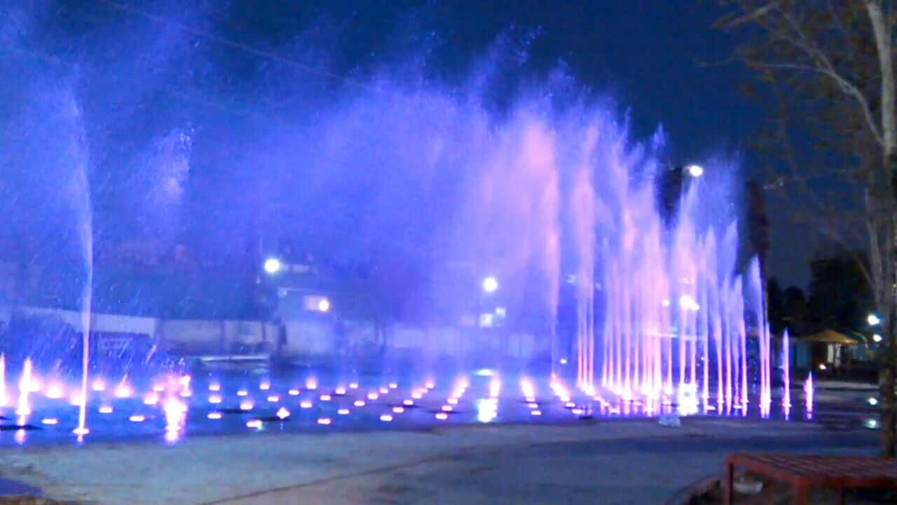 Musical Fountain with Colored LED Lamps