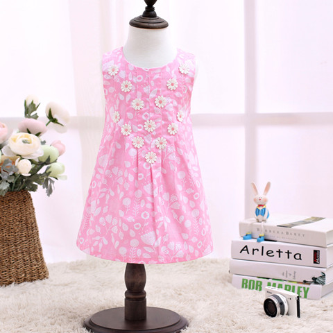 2017 Children Dress Kids Without Sleeve Fashion Kids Clothes Pinkle Dresses For Kids LSCG1704R