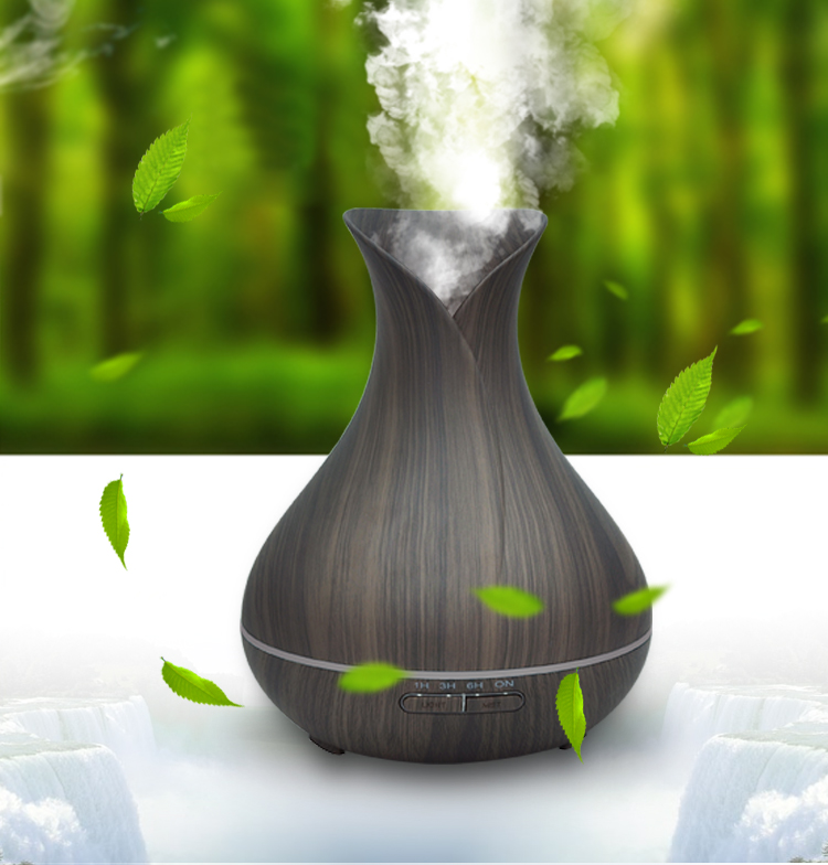 Ultrasonic Oil Diffuser 400ml Bottle Wooden Brown Natural Scent Air Purifier Whole House