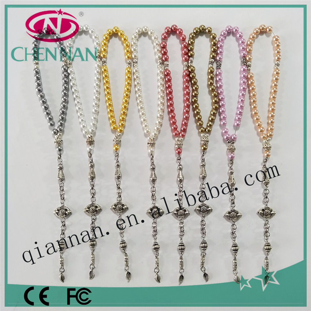 pujiang manufacturer hot sale fashion 10mm coloury crystal pearl bead muslim tesbih