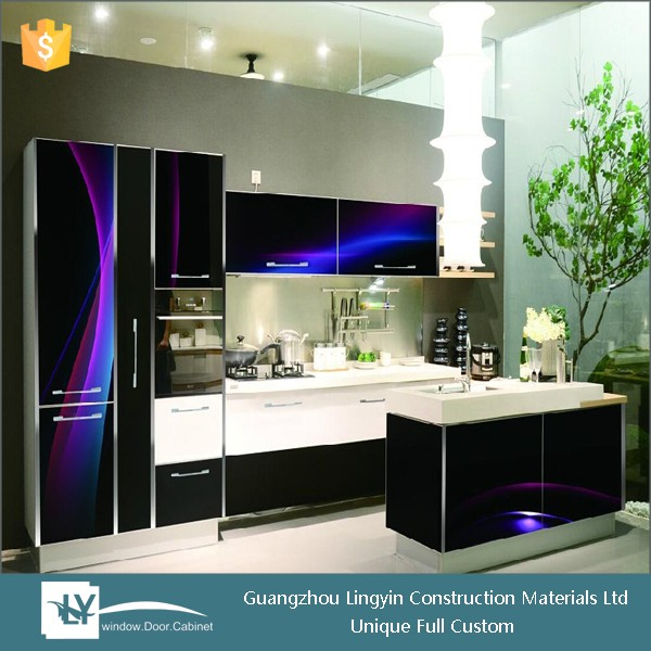 hot sale high gloss kitchen cabinet with 3D temper glass door design for malaysia market