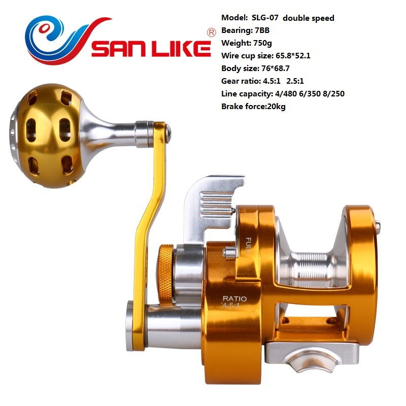 Middle size two speed fishing reel SLG-07 CNC cutting jigging fishing reel