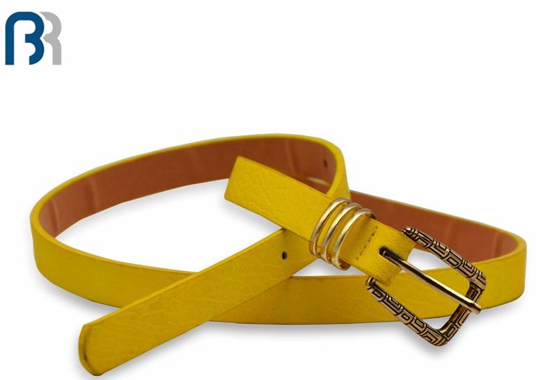 Ladies Skiny Triple Loops PU Belt