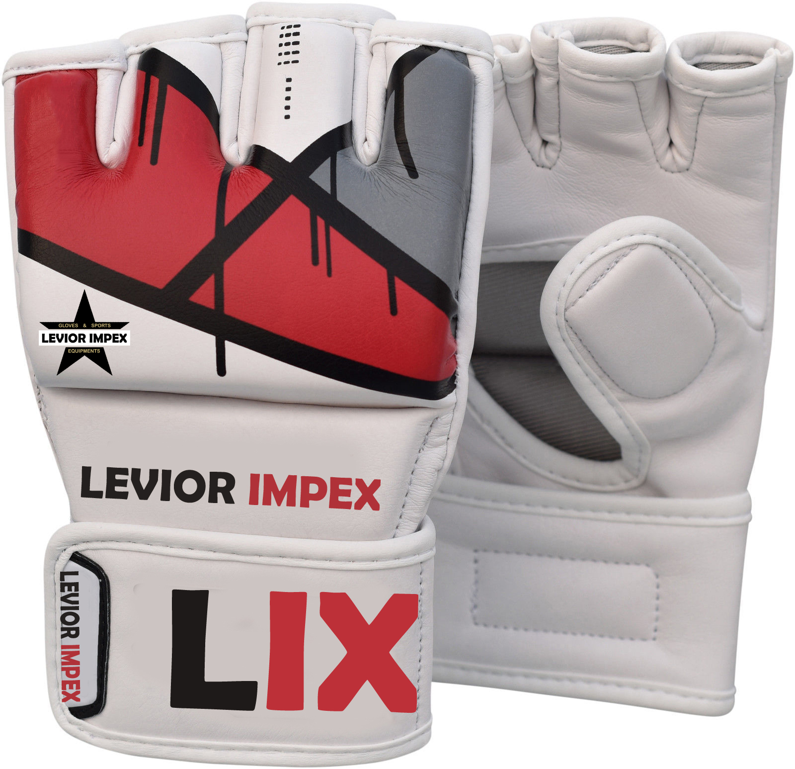 Leather Gel Tech UFC Grappling MMA Gloves Fight Boxing Punch Bag Training