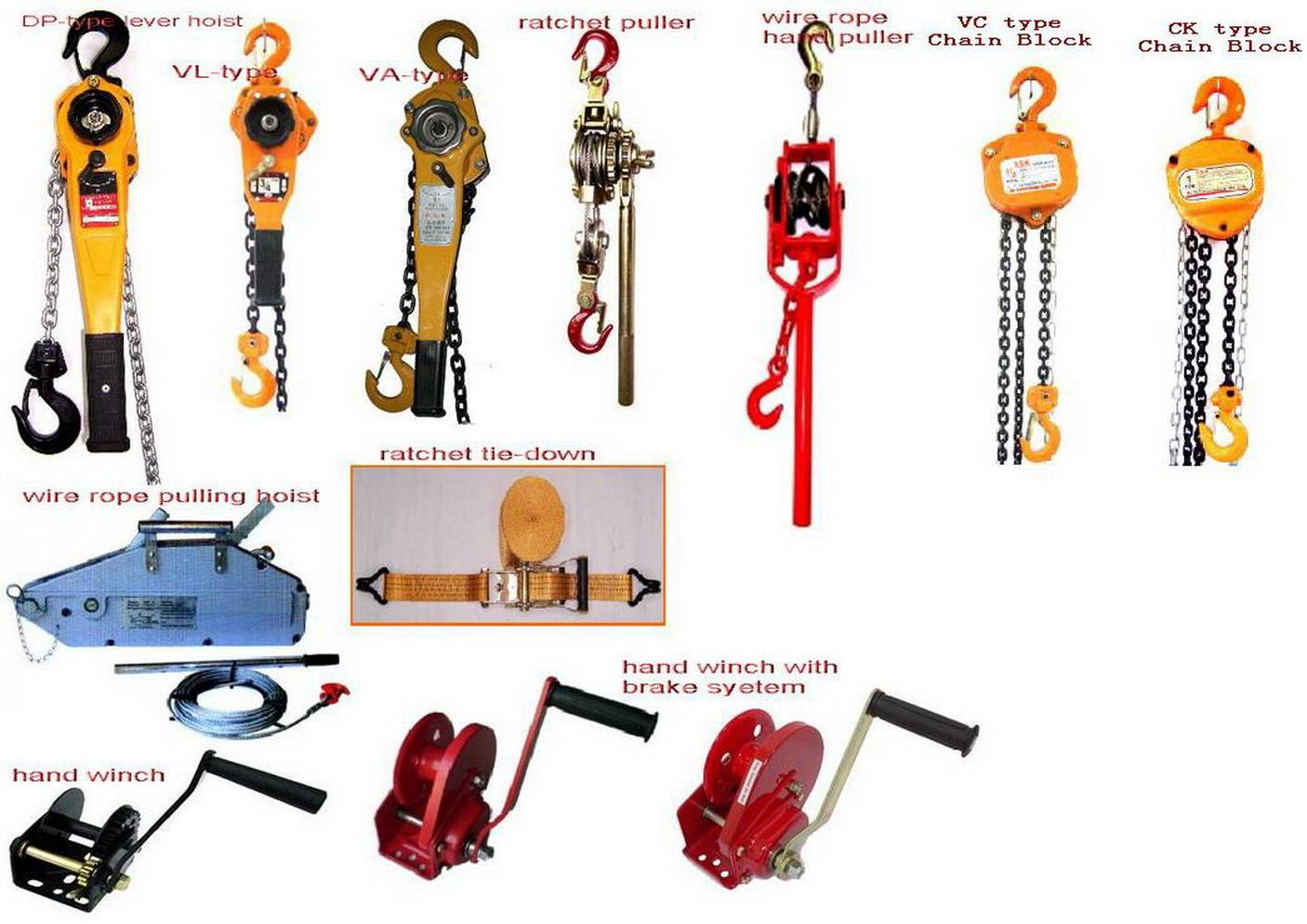 chain block,lever hoist,hand winch,ratchet hand puller, wire rope ...