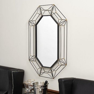 Large Metal Wire Frame Wall Mirror 3D Design