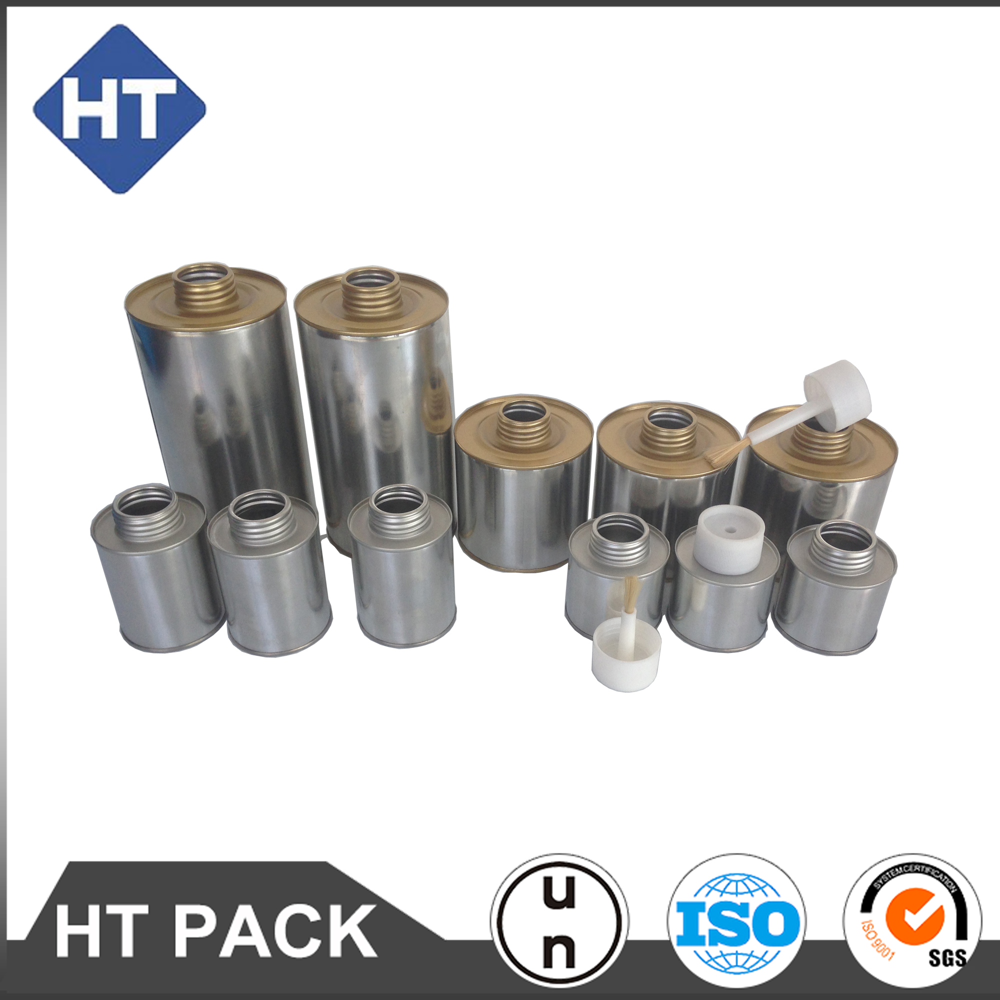 tin can pvc/cpvc glue can with brush PVC solvent cement cans