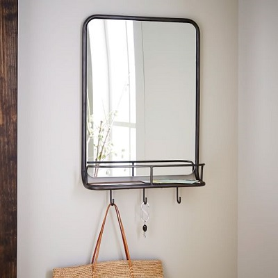 Wall Mounted Metal Frame Entry Mirror With Hooks
