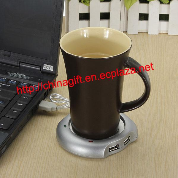 4 USB HUB COFFEE TEA BEVERAGE CUP MUG WARMER HEATER
