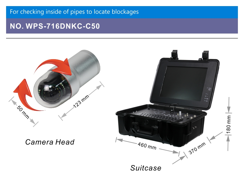 WOPSON pan tilt Camera with 512Hz sonde for sewer inspection camera