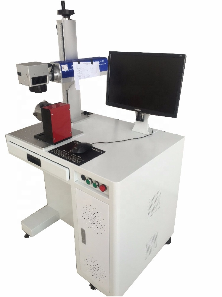 Fiber laser marking machine with rotary chuck for marking ring or bracelet