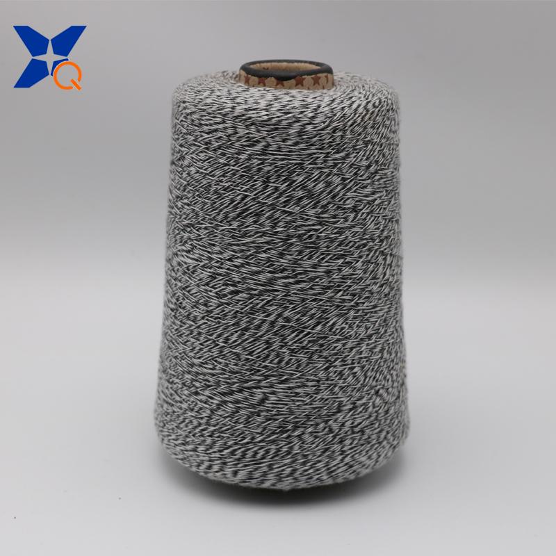 XT11166 Ne16/1 metal fiber 5%-polyester fiber 95% twist with Ne32/2 black rayon/viscose fiber yarn