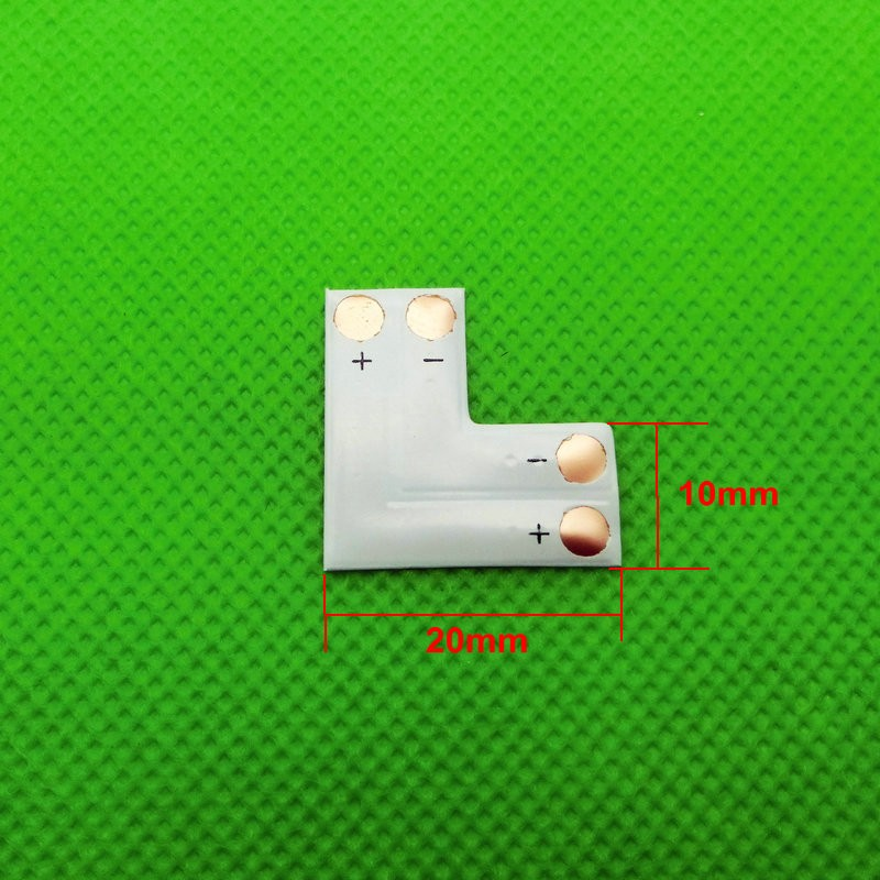 "2pin 10mm ""L"" type PCB Connector for Single Color LED Strip"