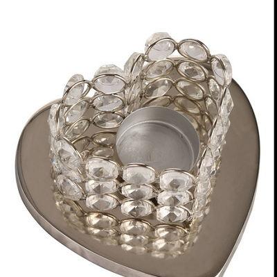 Candle Holder Iron Crystal Acrylic Beads Heart Lantern Pillar Wedding Centerpiece Votive Unity Teali