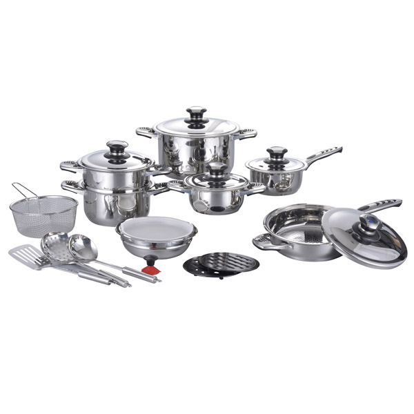 21pcs pot/ bowl/ spatula wide edge series well equipped stainlee steel kitchen cookware set