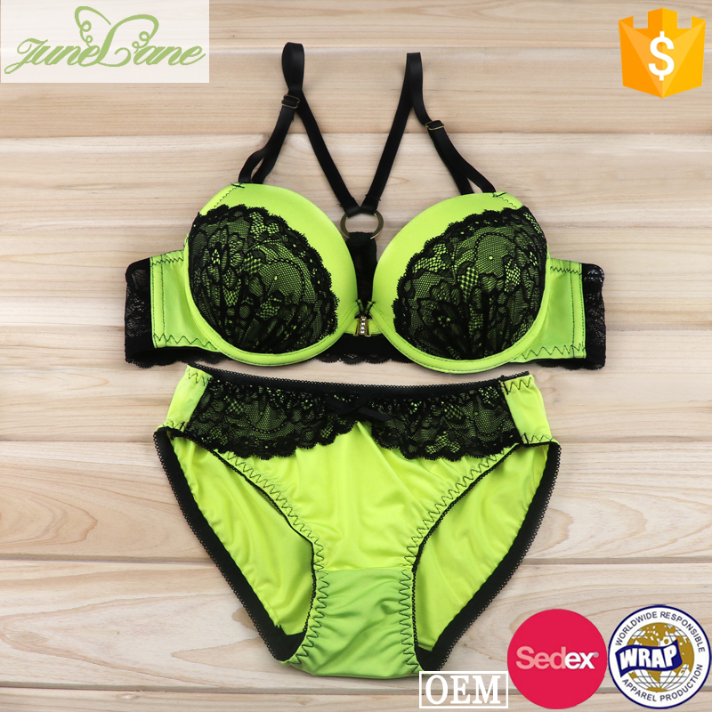 Front closure bra set with removable pads super sexy push up bra set