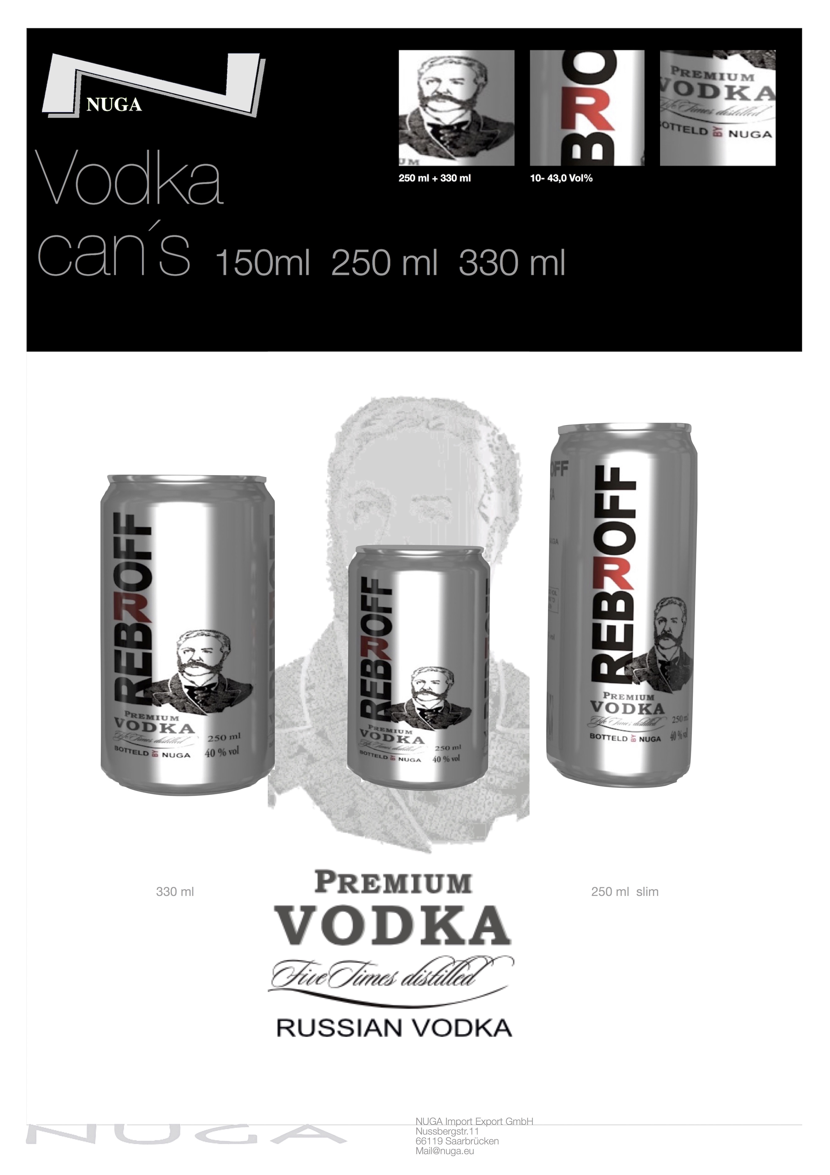 Vodka Rebroff Russian Vodka- Russian Premium Vodka in cans