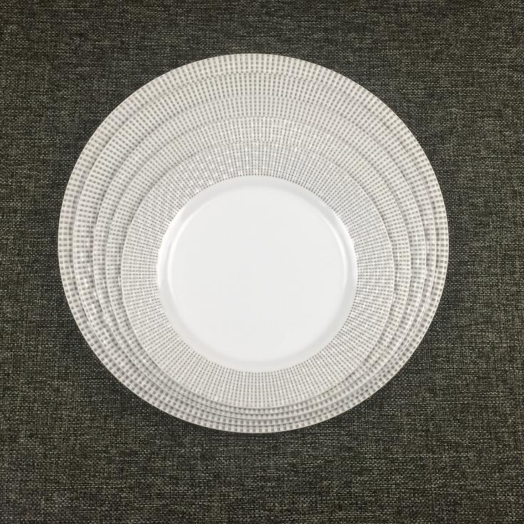 bamboo weaving side round melamine plate