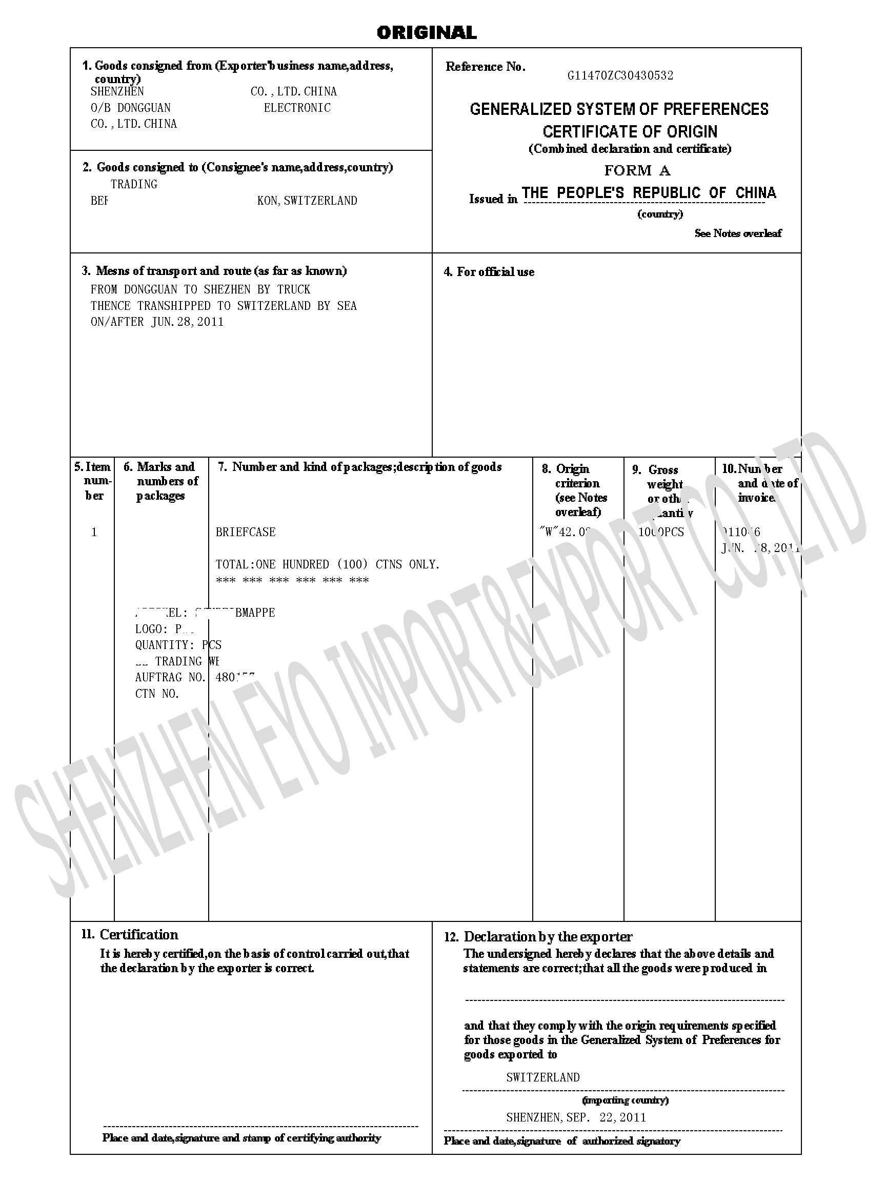 Certificate Of Origin FORM A SHENZHEN EYO IMPORT EXPORT COLTD