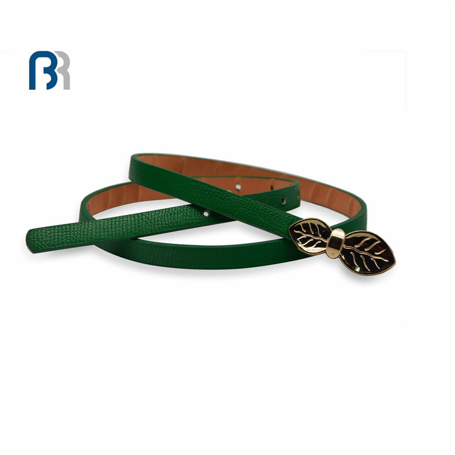 Golden Leaf Buckle PU Belts
