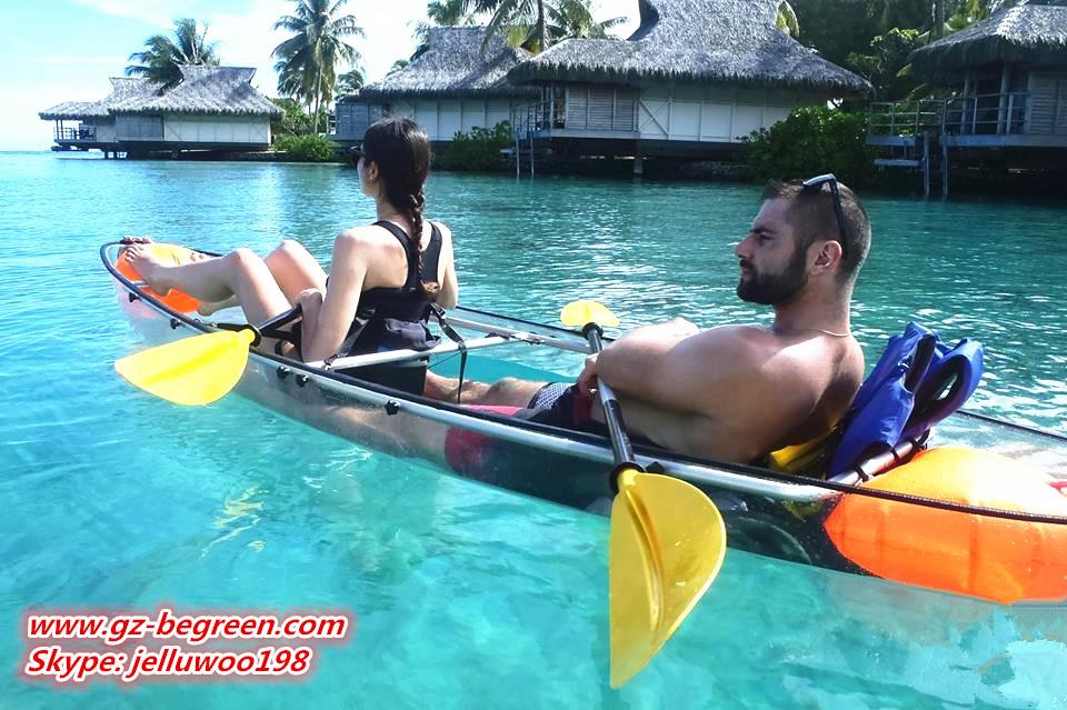 Manufacturer New design Transparent polycarbonate kayak /clear fishing boat/ crystal pc canoe