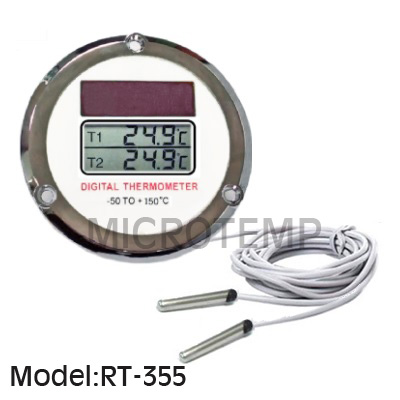 Dual Display Solar Powered Digital Thermometer