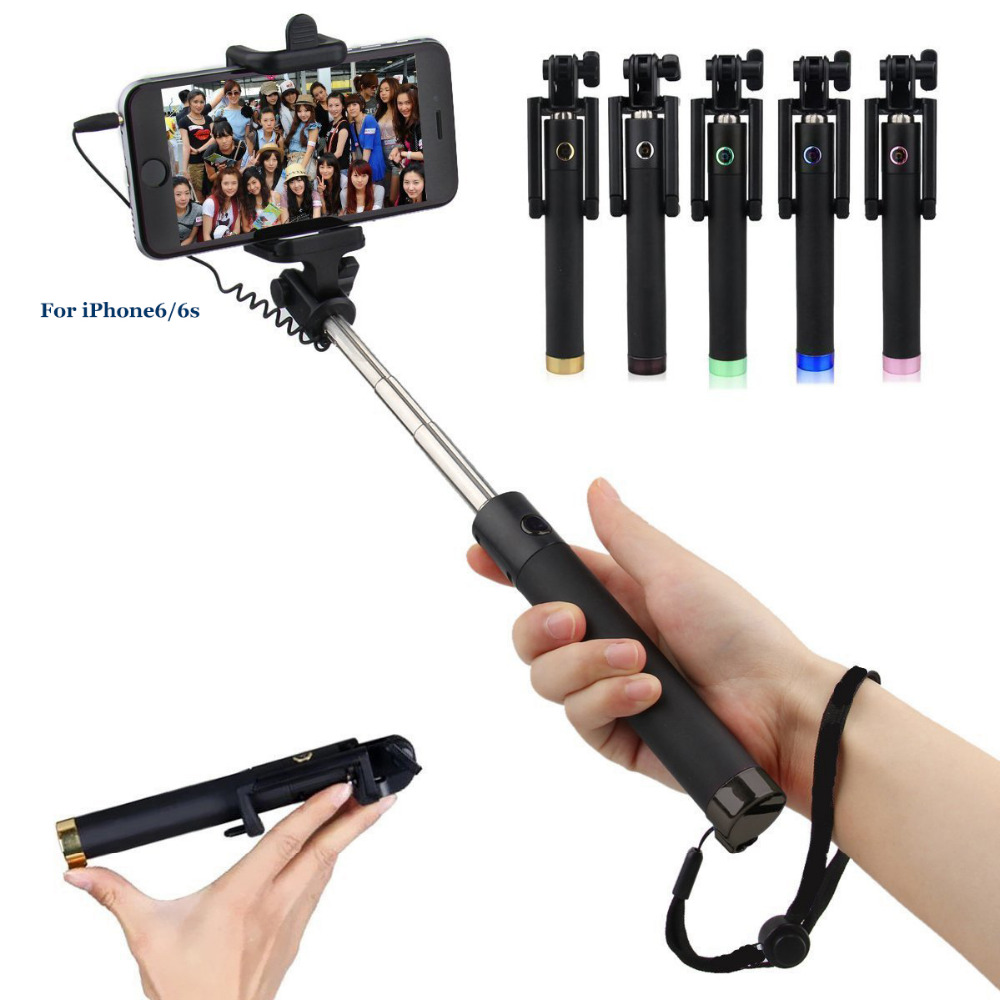 2017 Popular Wired Foldable monopod Mini selfie stick with cable for smart phones