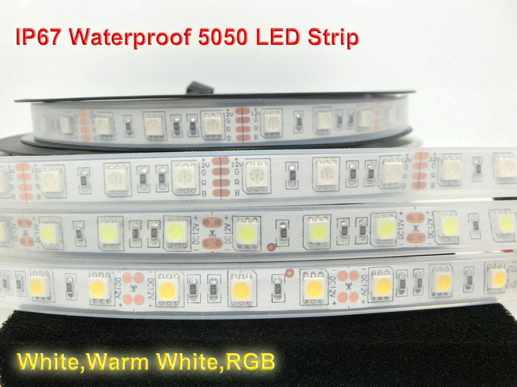 IP67 Waterproof 5050 LED Strip,12V 60LED/M White Warm White RGB,Use Underwater for Swimming Pool,Fis