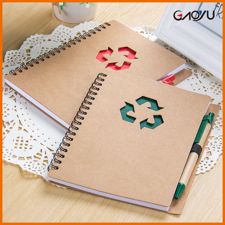A5 journal diary kraft paper cover custom journals blank lab notebook with pen