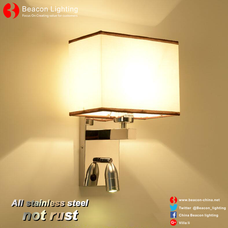 china factory wholesale 201/304 stainless steel wall lights with led reading lights for hotel rooms
