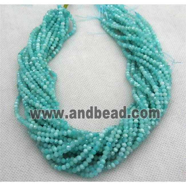 green Russian Amazonite beads, faceted rondelle (GMLB3542) approx 3x4mm