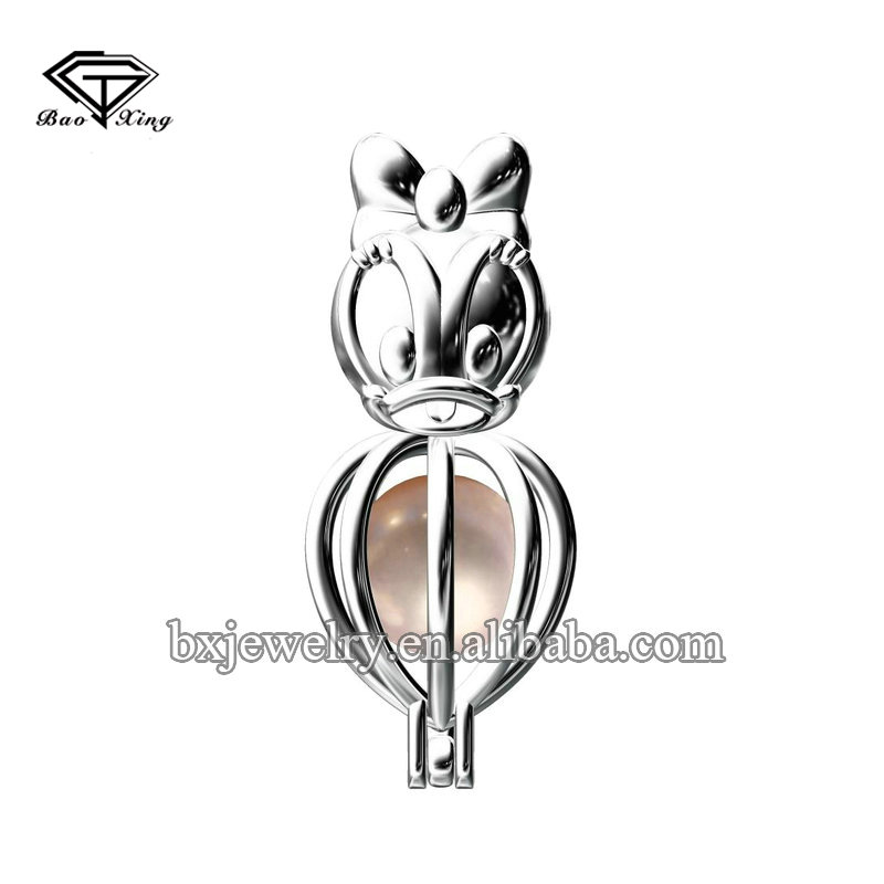 2017 hot new products fantastic artificial pearl Donald Duck cage pendant
