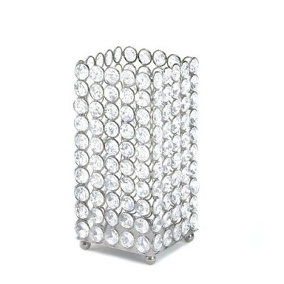 Square Crystal Actylic Beaded Pillar Candle Holder Wedding Candelabra Centerpiece