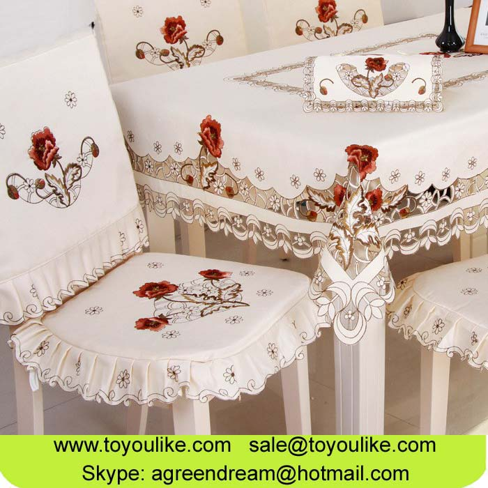 Toyoulike European Pastoral Beige Embroidered Table Cloths Set