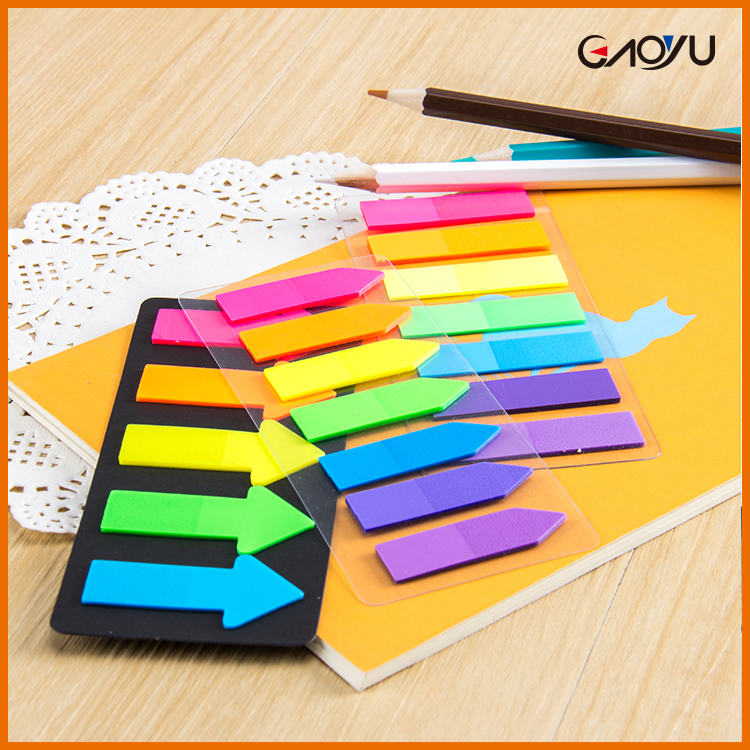 Fluorescent index/arrow shaped plastic sticky note,colorful PET page marker,adhesive sticky note Mem