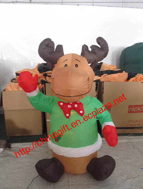 120cm Christmas Inflatable Sitting Reindeer Blow-Up Yard Decoration