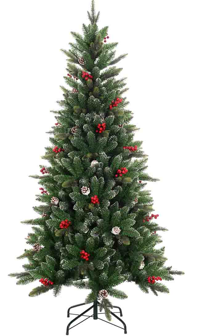 2017 hot sale europe standard 6ft berry cone decorated artificial christmas tree