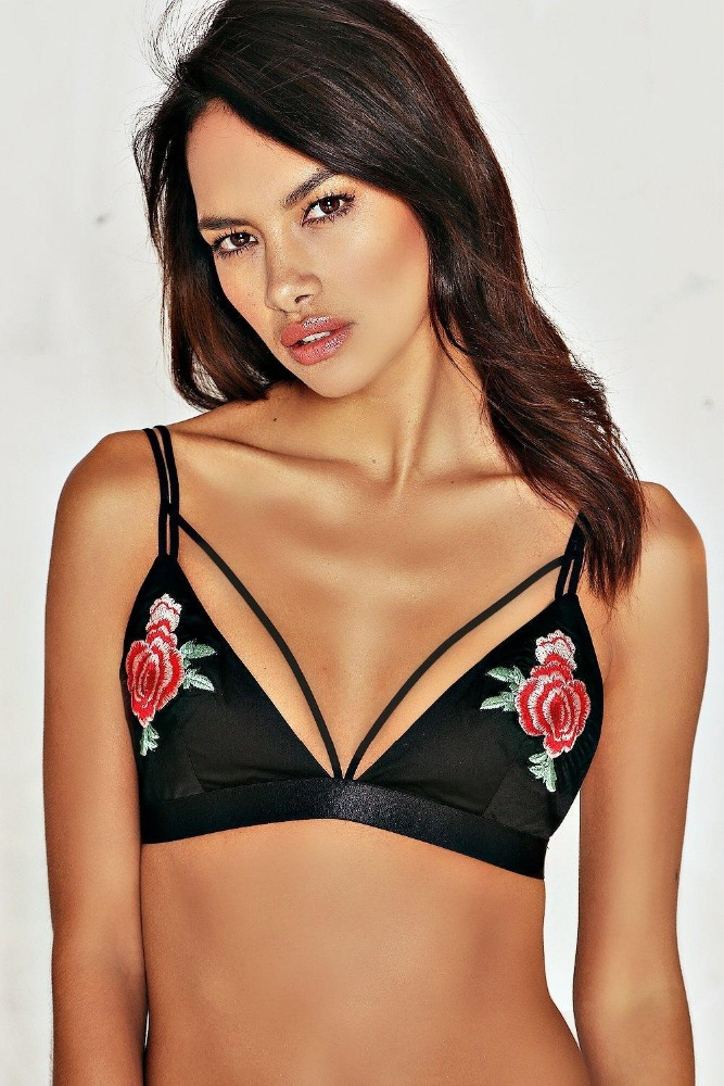 New Hot style flower embroidered bralette thin bra