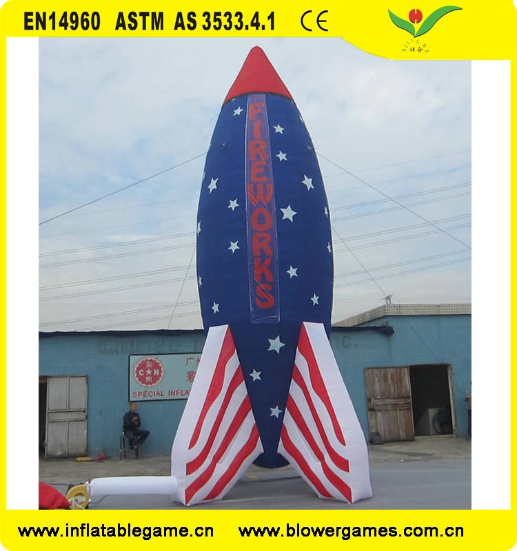 Customized shape design advertising fireworks inflatable rocket
