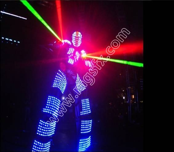 EL Wire dancer clothig LED robot costume David guetta robot suit ...