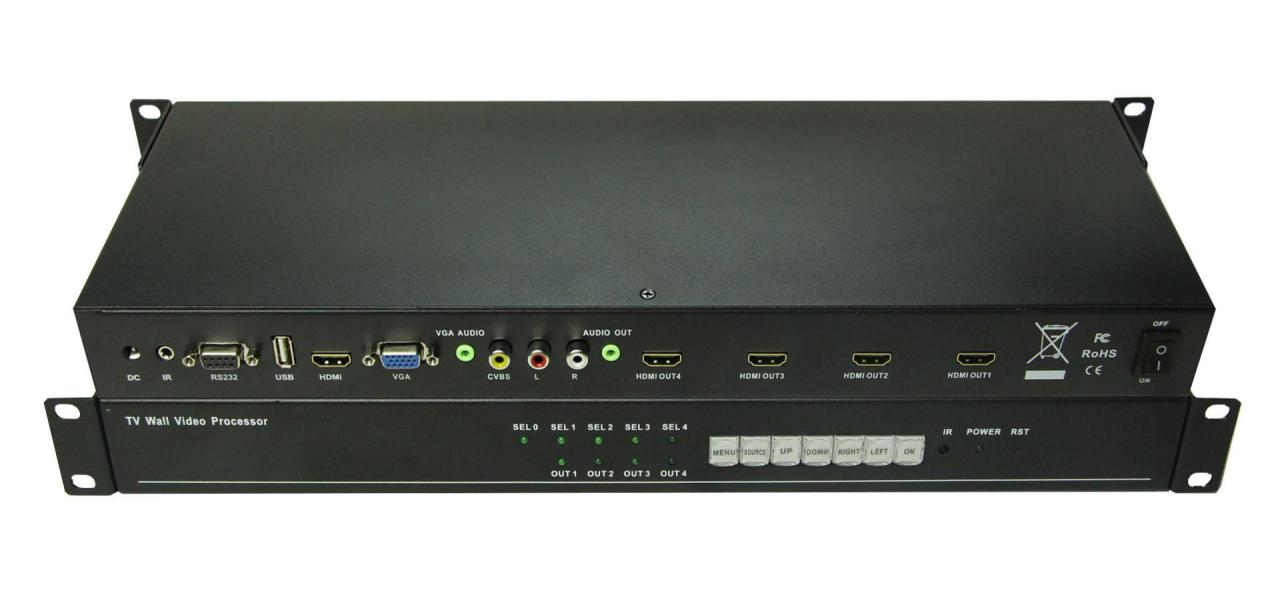 1x4 TV Wall LCD displays Video Processor