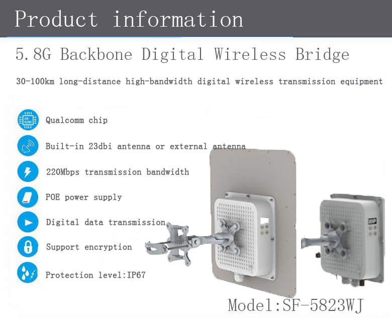 5.8G 30-100KM outdoor monitoring system,GPRS wireless monitoring,factory wireless monitoring