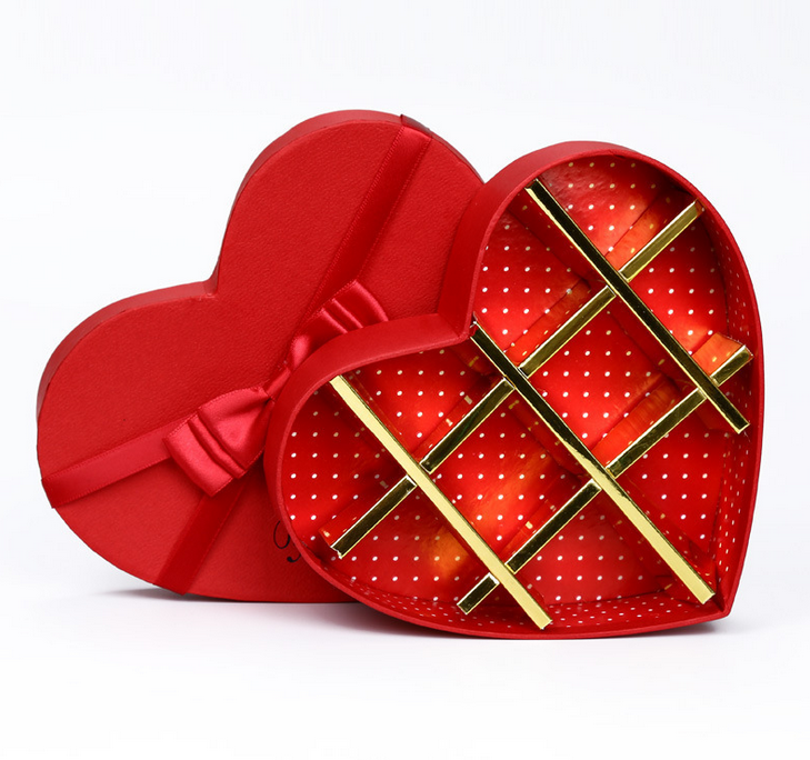 Rigid Paper Cardboard Heart Shape Packing Gift Box for chocolate or Tea