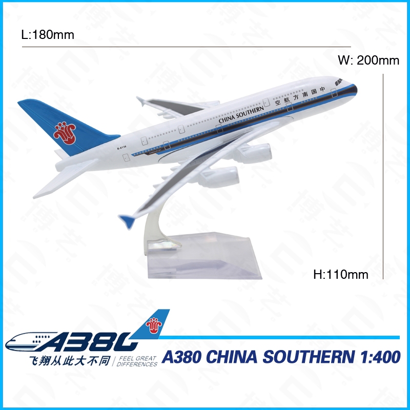 18cm Zinic Alloy Ture to Scale Collectible Airplane Model 1: 400 380 Plane Model for Adults
