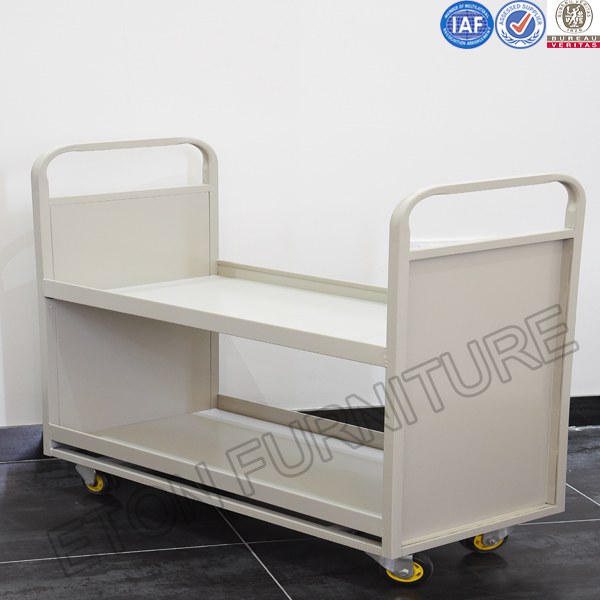 Steel Library Furniture Metal Library Book Cart for sale